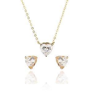 Conjunto colar e brinco com zirconias de coração banhado em ouro 18K