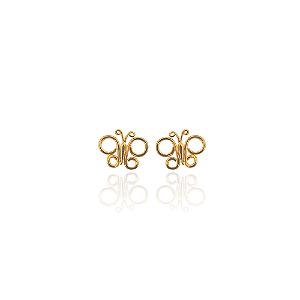 Brinco de borboleta em arabesco banhado em ouro 18k