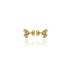Brinco de borboleta cravejada com zirconias brancas e banhado em ouro 18k