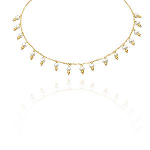 Colar Semijoia Chocker Com Pérolas E Bolinhas Douradas Banhado Em Ouro 18k
