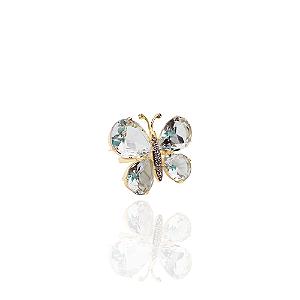 Anel semijoia formato de borboleta com cristal, cravejado com zirconias brancas banhado em ouro 18k