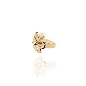Anel semijoia flor banhada em ouro 18K