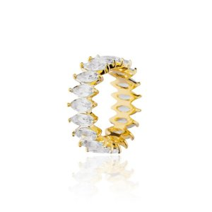 Aliança cravejada com cristais de navetes, banhado em ouro 18k