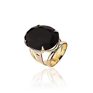 Anel semijoia de aro rodete e pedra de cristal, banhado em ouro 18k