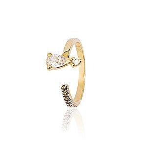 Anel semijoia de falange com gota de zircônia na ponta e zircônias cravejadas, banhado em ouro 18k