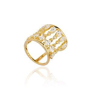 Anel Semijoia Largo, Cravejado Com Gotas De Zircônias, Banhado Em Ouro 18k