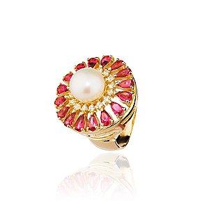 Anel semijoia redondo com pérola e gotas de cristais, banhado em ouro 18k