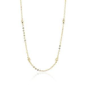 Colar Semijoia De Corrente De Elo Cadeado E Chatões De Zircônias, Banhado Em Ouro 18k