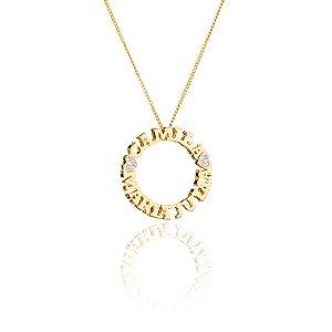 Mandala nome semi joia de 23 a 26 caracteres Colar + Pingente banhado em ouro 18K