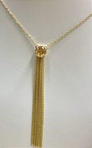 Colar Com Pingente De Pedra Redonda E Franja De Correntes Banhado Em Ouro 18k