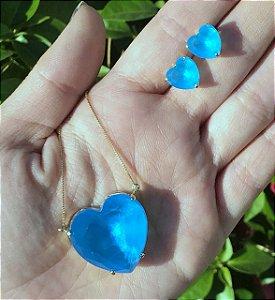 Conjunto de Coração com Brinco e Colar Azul Cristal banho dourado