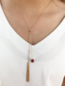 Colar Gargantilha Gravatinha Pedra Vermelha Banhado Ouro