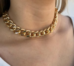 Corrente maxi grossa feminina folheada a ouro