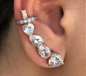 Brinco Ear Cuff Coração Folheado a Ouro Zirconias Brancas