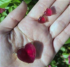 Conjunto De Brinco E Colar De Coração Vermelho Banho Em Ouro