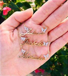 Colar Com Nome e Personalizado Borboletas Banhado Em Ouro