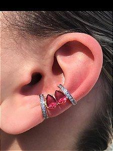 Brinco Piercing Fake Orelha Rosa Cravejado Folheado Ouro Par