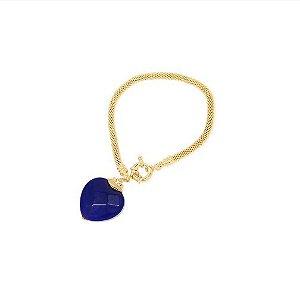 Pulseira Pingente de Coração Pedra Azul Banhado Ouro 18K