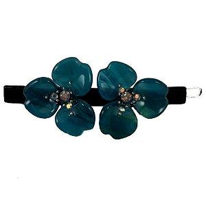 Presilha Clip Duas Flores Azul