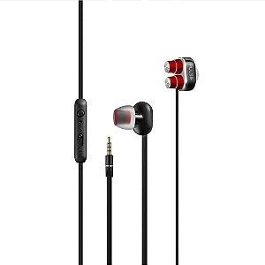 Earphone Stereo Áudio Dual Driver Vermelho - PH235