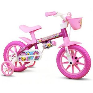 BICICLETA 12 FEM FLOWER ROSA/BCO LILLY BIKE
