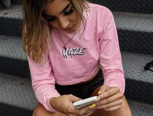 Cropped HAZE wear Manga Longa Rosa