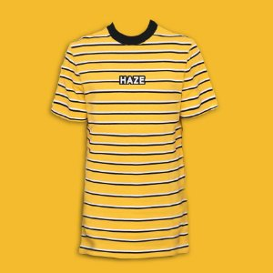 Camiseta HAZE wear Real Logo Listrada Amarela
