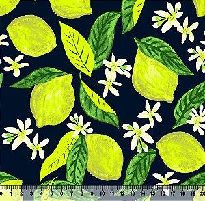 Tecido Tricoline Limão Siciliano Fundo Marinho 3775-01