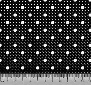 Tecido Tricoline Poá com Poá Preto e Branco