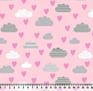 Tecido Tricoline Nuvem Coração Fundo Rosa 5422-04