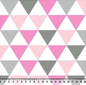 Tecido Tricoline Triângulos Mosaicos Coloridos Rosa 3223-08