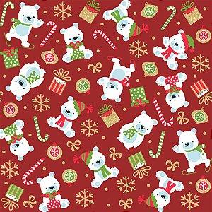 Tecido Tricoline Urso Polar V2152-6167 - Natal