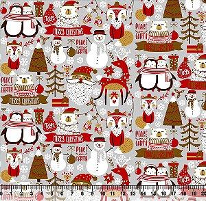 Tecido Tricoline Merry Christmas Cinza V89-5421-04 - Natal