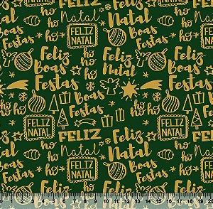 Tecido Tricoline Feliz Natal Verde V89-4022-01 - Natal