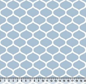 Tecido Tricoline Favos Geométricos Azul Bebê 2858-08