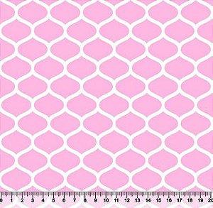 Tecido Tricoline Favos Geométricos Rosa Bebê 2858-09