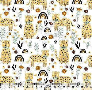 Tecido Tricoline Oncinha Amarelo 3964-01