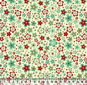 Tecido Adesivado Flores Coloridas V853-5176-01 -- 0,15 m x 1,00 m