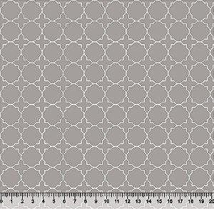 Tecido Tricoline Quadrado Círculo Cinza 3819-06