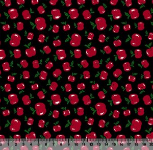 Tecido Tricoline Cerejinha Vermelha Fundo Preto 5003-02