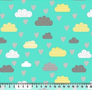 Tecido Tricoline Nuvem Coração Fundo Verde-Água 5422-05