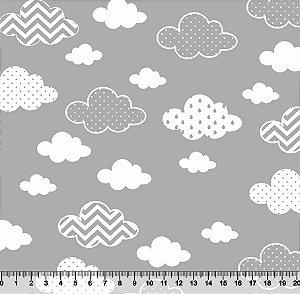 Tecido Tricoline Nuvens Estampadas Fundo Cinza 2867-05