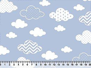 Tecidos Tricoline Nuvens Estampadas Fundo Azul 2867-01