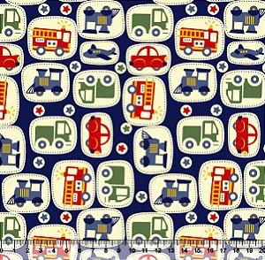 Tecido Tricoline Carros Fundo Azul Marinho 2418-03