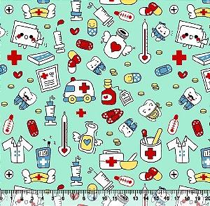 Tecido Tricoline Profissões Médicas Fundo Verde-Água 5446-01