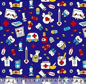Tecido Tricoline Profissões Médicas Fundo Azul 5446-02