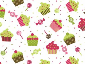 Tecido Tricoline Cupcake Verde Neon e Rosa com Fundo Branco 5067-03