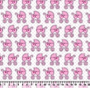 Tecido Tricoline Carrinhos de Bebê 5386