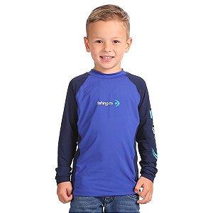 Camiseta Infantil Fishing Co. Recorte Royal/Marinho