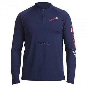 Camiseta Fishing co. Zíper ML UPF50 - Marinho